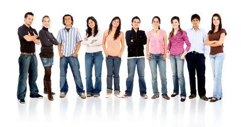 group of casual happy people smiling and standing isolated