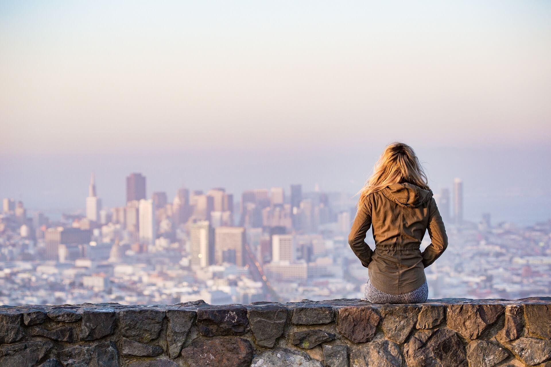 woman with skyline